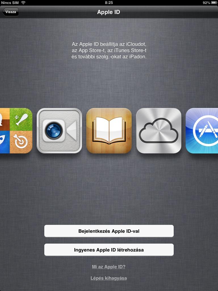 iPad mini első beállítások